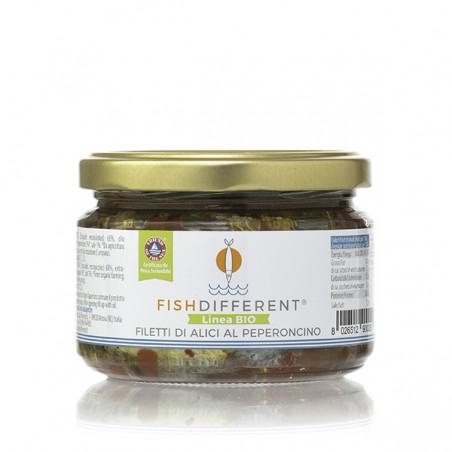 Filetto rustico di alici biologico al peperoncino di Fish Different
