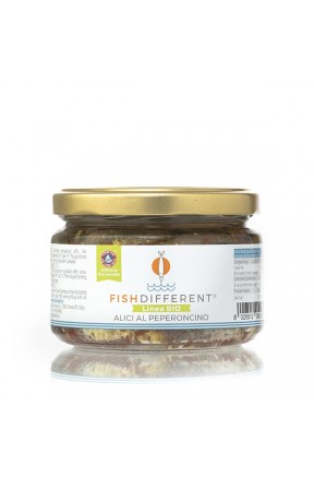 Alici intere biologiche al peperoncino di Fish Different