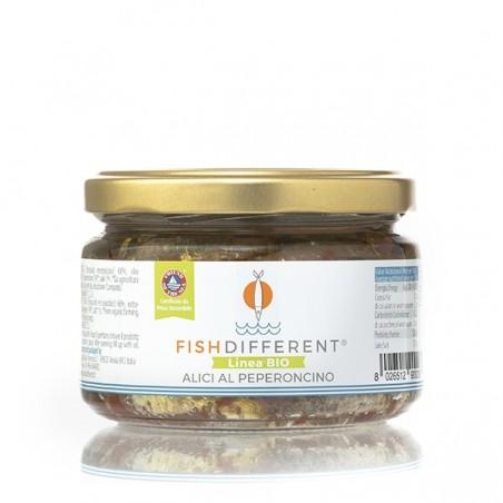Alici intere biologiche al peperoncino di Fish Different