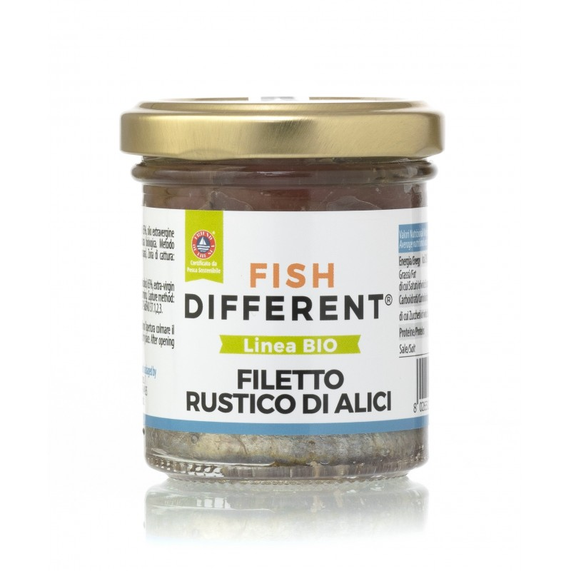 Filetto rustico di alici biologico 100gr di Fish Different