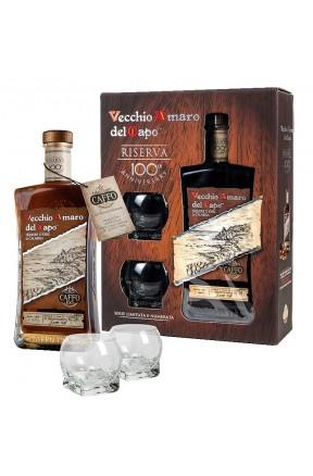 Amaro del Capo riserva del centenario con due bicchieri