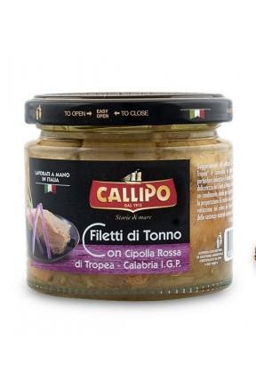 Trancetti di tonno con cipolla di Tropea e olio di oliva di Callipo