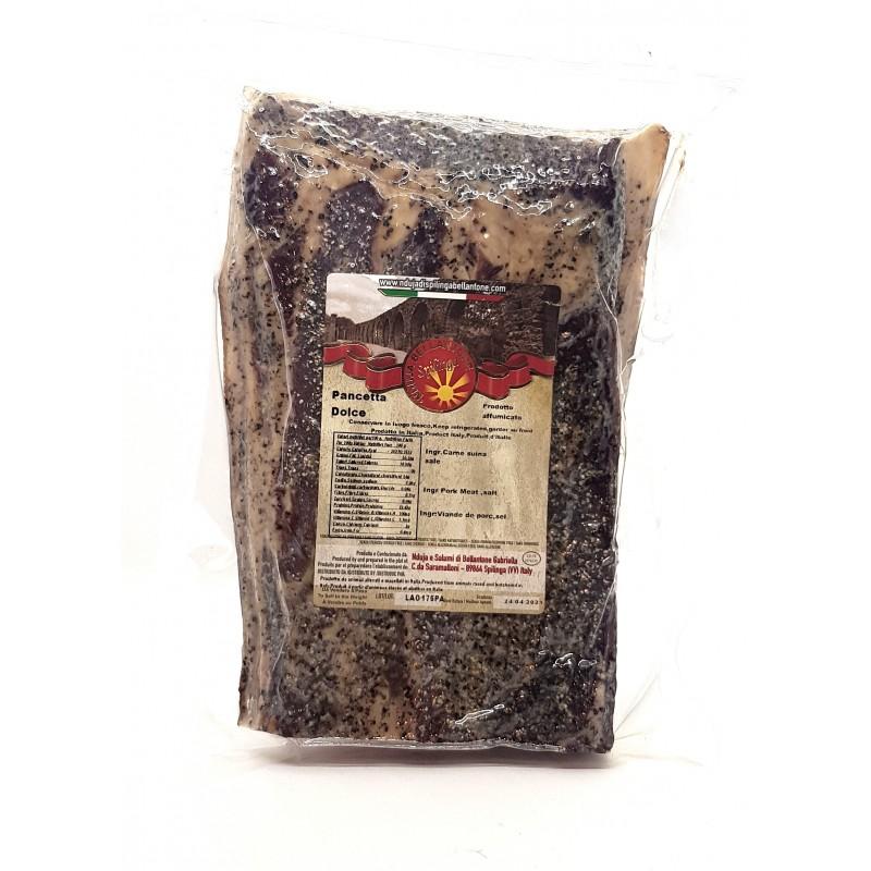 Pancetta tesa dolce calabrese di Spilinga di Bellantone