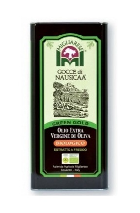Olio extravergine biologico green gold Gocce di Nausica 5lt di Migliarese