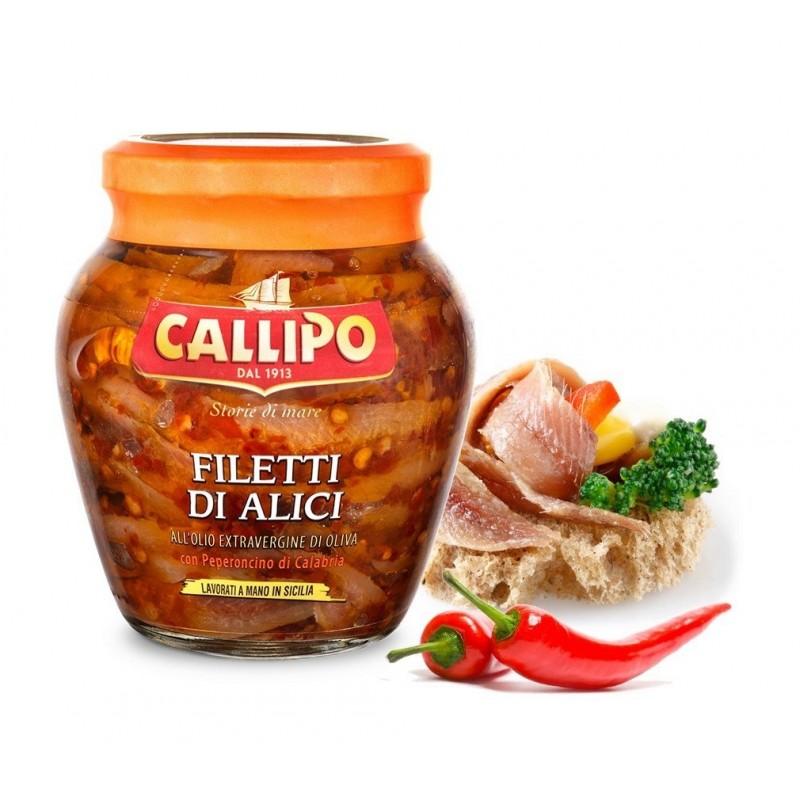 Filetti di alici piccanti 310gr del mediterraneo con evoo di Callipo