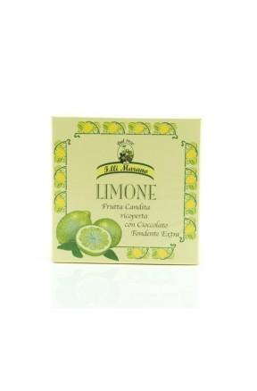 Filetti di limone candito ricoperti di cioccolato di Marano